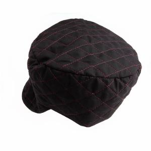 Quilted Black Skull Cap, Size 7-1/8
