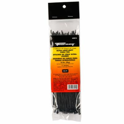 "Cable Ties, 8"" Black Ultra Light-Duty, 100-Pack"