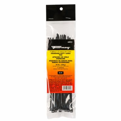 "Cable Ties, 8"" Black Standard Duty, 25-Pack"