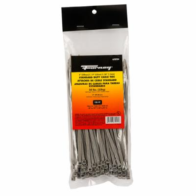 "Cable Ties, 8"" Gray Standard Duty, 100-Pack"