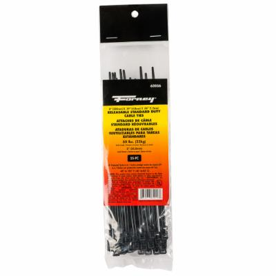 "Cable Ties, 8"" Black Releasable Standard Duty, 25-Pack"