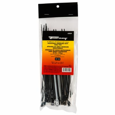 "Cable Ties, 8"" Releasable Standard Duty Assortment, 100-Pack"