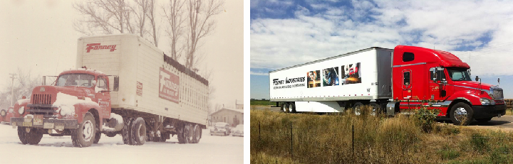 Forney's fleet truck in the 1900s versus their current 2017 truck
